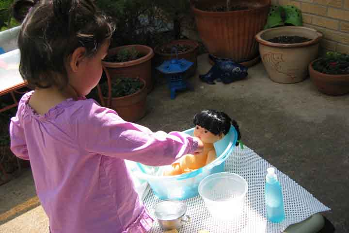 Washing a Toy Baby