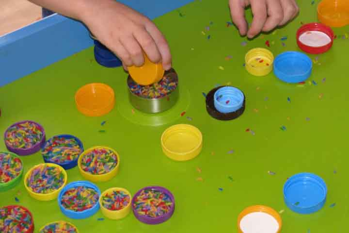 Have Fun With This Counting And Sorting Activity Using Bottle Lids