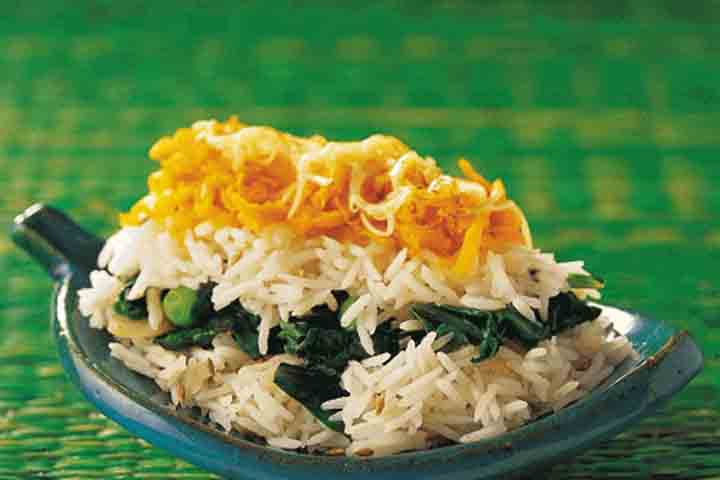 Spinach and Carrot Rice Fun Food for Children